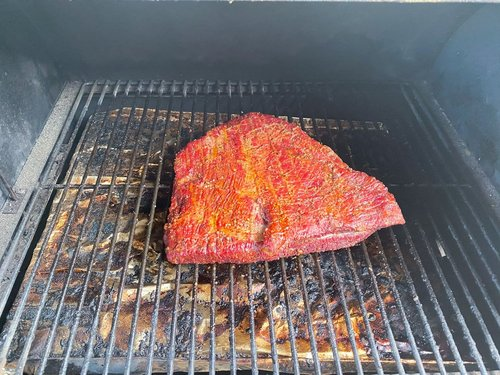 Bison meat in the smoker.